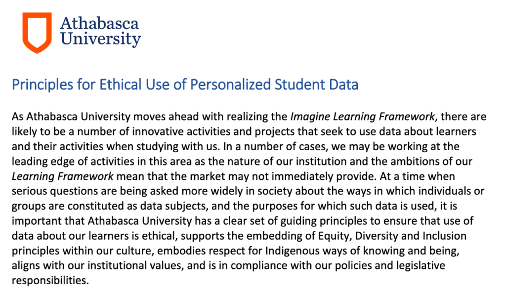 Screenshot of the Principles for Ethical Use of Personalised Data policy document from Athabasca University