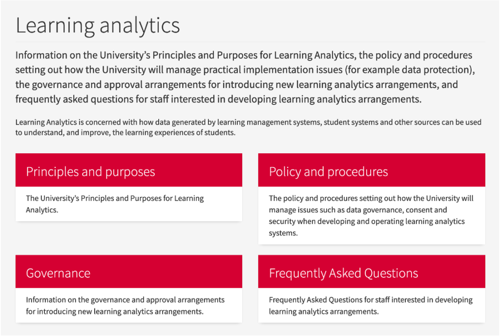 Screenshot of webpage from the University of Edinburgh showing links to learning analytics policy information.